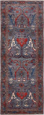 """Hand Knotted Afghanistan Aryana 2'9"""" x 9'7"""" Gray"""