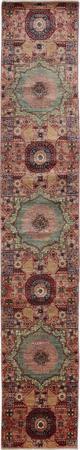 "Hand Made Afghanistan Mamluk 2'4"" x 13'8"" Purple LT"