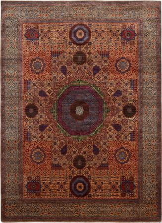 "Hand Made Afghanistan Mamluk 8'11"" x 12'2"" Gold"