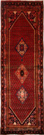 Hand Knotted Persian Wool Hamadan Red DK 3'3''x9'11'' Runner