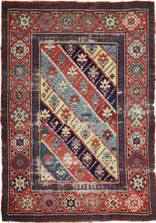 """Hand Knotted Persian Caucassian Wool 3'6"""" x 5'3"""" Ivory"""
