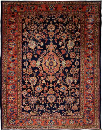 Hand Knotted Pakistan Wool Malayer Blue DK Rug 9'x12'