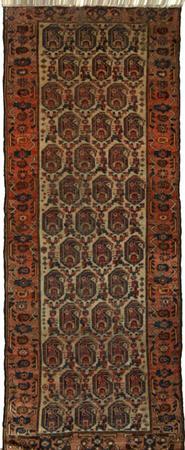 """Hand Knotted Persian Kurdish Wool 3'2"""" x 7'6"""" Ivory"""