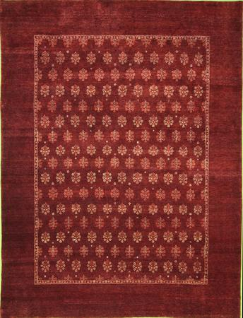 Hand Knotted India Wool Agra BURGUNDY 8'x10'2'' Rug