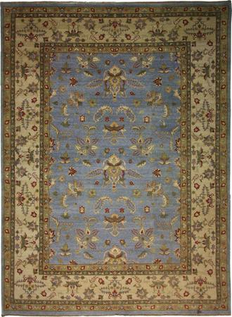 Hand Knotted India Wool agra Blue Lt Rug 8'9''x11'11''
