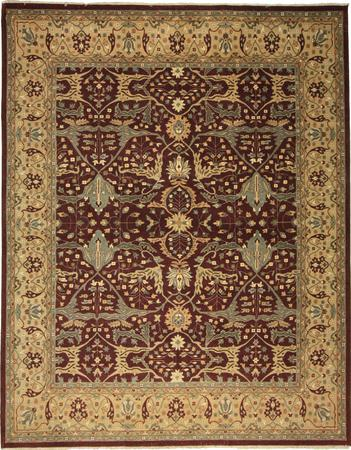 Hand Knotted India Wool SULTANABAD Red DK 7'9''x9'8'' Rug