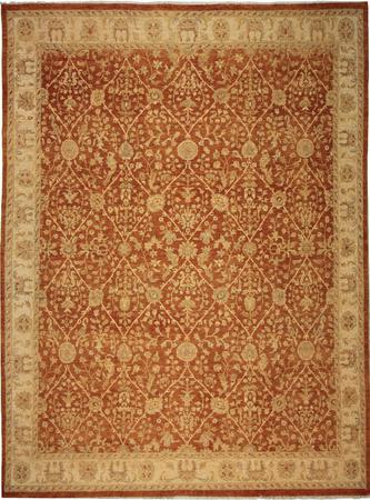 Hand Knotted India Wool Tabriz Rust 7'10''x10' Rug