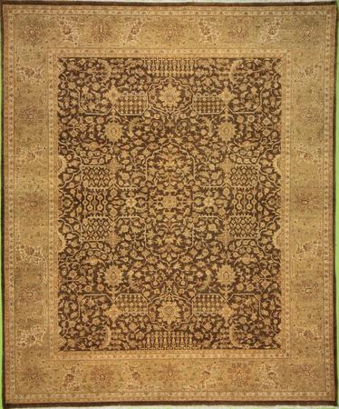 Hand Knotted India Wool Tabriz BROWN 8'1''x9'8'' Rug