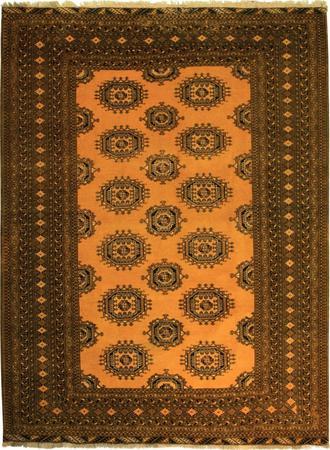 "Hand Knotted Persian geometrric Wool 6'8"" x 9' Yellow Dk"