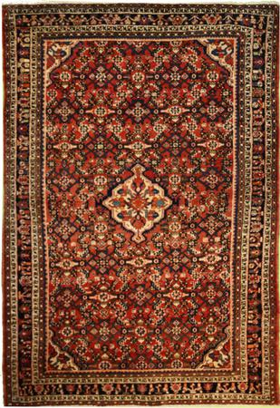 """ONE OF A KIND Persian geometrric Wool 4'5"""" x 6'4"""" Red"""