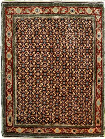 "Hand Knotted Persian geometrric Wool 4'9"" x 6'2"" Blue"
