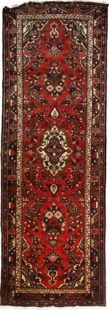 "Hand Made Persian Hamadan Wool 3'6"" x 10'2"" Red DK"