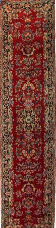 "Hand Made Persian Kerman Wool 3'3"" x 13' Red"