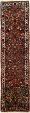 """Hand Knotted Persian Sarouk Wool 2'9"""" x 10'3"""" Rust"""