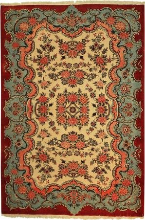 """Hand Knotted Persian Malayer Wool 4'7"""" x 6'6"""" Ivory"""