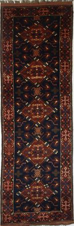 """Hand Knotted Persian Malayer Wool 3'2"""" x 9'8"""" Blue"""