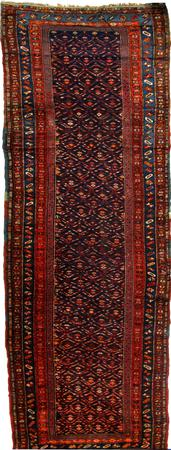 """Hand Knotted Persian Malayer Wool 3'4"""" x 12'9"""" Blue"""