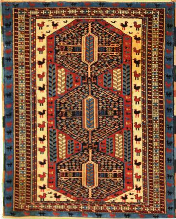 Hand Knotted Persian Wool GHOochan Ivory 4'4''x3'5'' Rug