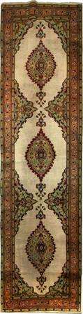 """Hand Knotted Persian Kerman Wool 3'2"""" x 12'2"""" Ivory"""