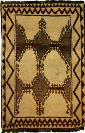 """Hand Knotted Persian Gabbeh Wool 3'10"""" x 5'6"""" Ivory"""