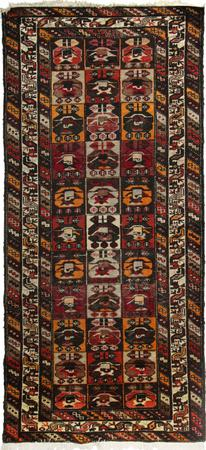 """Hand Knotted Persian Bakhtiari Wool 4'4"""" x 9'8"""" Red DK"""