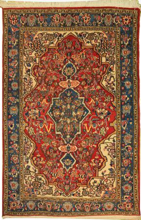 """Hand Made Persian T1 Wool 4'4"""" x 6'7"""" Red"""