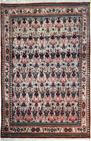 """Hand Knotted Persian Farahan Wool 4'2"""" x 6'6"""" IVY"""