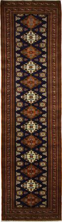 "Hand Made Persian Balouch Wool 3'5"" x 12'2"" N. BLUE"