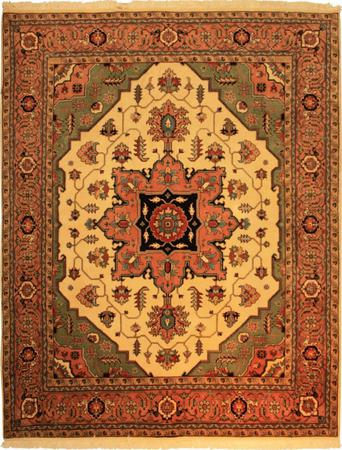 "Hand Made Persian Tabriz Wool 7'6"" x 9'2"" Ivory"