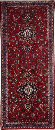 "Hand Made Persian Mashad Wool 3'10"" x 9'3"" Red"
