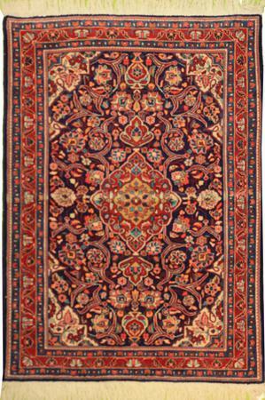 "Hand Made Persian Tabriz Wool 3'8"" x 4'10"" Blue"