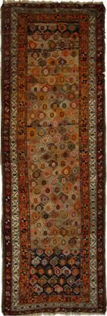 "Hand Knotted Persian Kurdish Wool 3'4"" x 9'8"" Orange"
