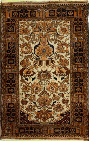 """Hand Made Persian 44362 Wool 2'9"""" x 4'7"""" Ivory"""