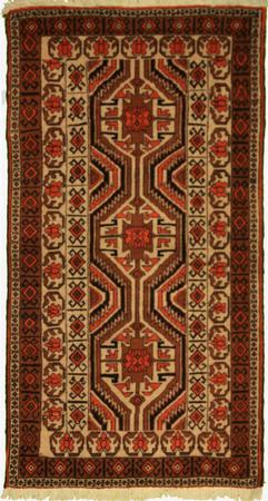 """Hand Knotted Persian Balouchi Wool 2'10"""" x 5'4"""" Ivory"""