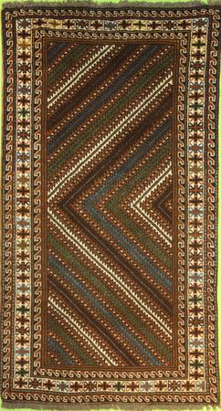 """Hand Knotted Persian 2916-1222 Wool 3'6"""" x 6'5"""" Green Dk"""