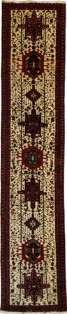 """Hand Knotted Persian Heriz Wool 3'8"""" x 10'4"""" Ivory"""