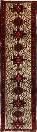 """Hand Knotted Persian Heriz Wool 2'6"""" x 11'5"""" Ivory"""