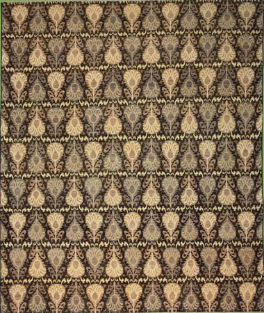 Hand Knotted Pakistan Wool Ikat brown dk 8'x10' Rug