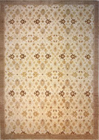 Hand Knotted Pakistan Wool French Savaneri brown lt Rug 9'x12'8''
