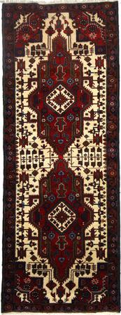 """Hand Made Persian 1244-1495 Wool 3'7"""" x 9'4"""" Ivory"""