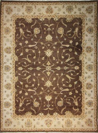 Hand Knotted India Indo-Isfahan Wool 9'x12'1'' L.BROWN