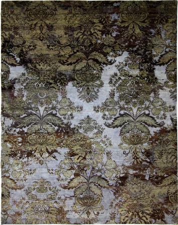 Hand Knotted India Wool and Silk Agra Blue 7'10''x10' Rug