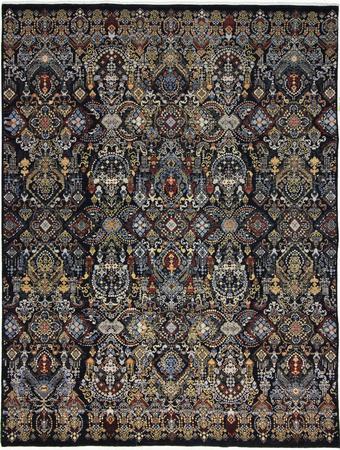 Hand Knotted India Wool Kohinoor Black 8'1''x10'5'' Rug