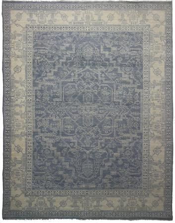 Hand Knotted India Wool Heriz gray Lt 7'10''x10'1'' Rug