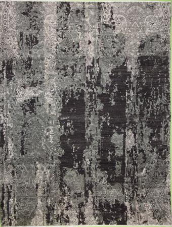 Hand Knotted India Wool Modern gray dk 7'10''x10'3'' Rug