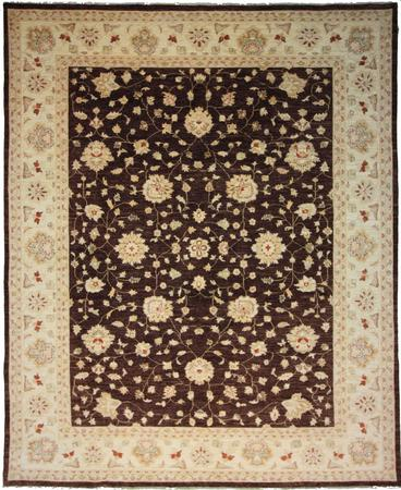 Hand Knotted India Chobi Wool 8'9''x11'8'' BROWN