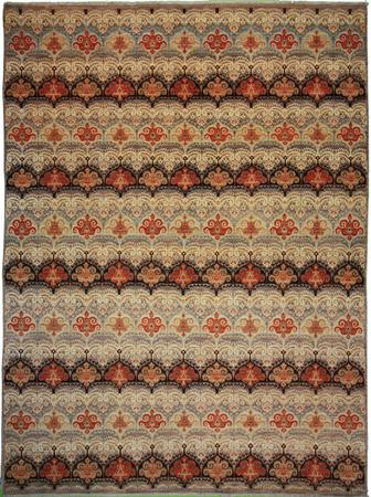 """Hand Knotted Pakistan Wool Ikat Brown Rug 7'11"""" x 10'7"""""""