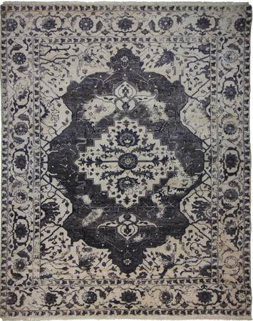 Hand Knotted India Wool and Silk Indo-Tabriz D.GRAY 8'x9'11'' Rug