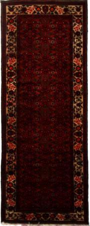"Hand Made Persian Hamadan Wool 3'10"" x 9'11"" BURGUNDY"
