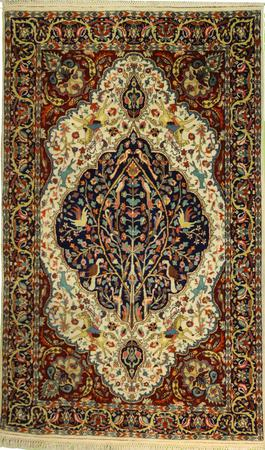 """Hand Made Persian ANTIQUE    Wool 3'10"""" x 6'8"""" Ivory"""